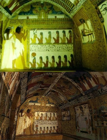 The real life tomb of Sennedjem at Deir el Medineh, juxtaposed with my VRML model of the tomb