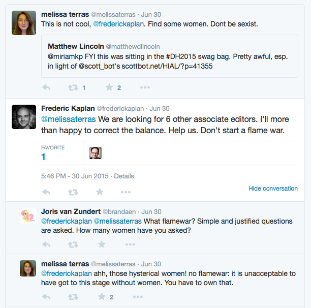 Screenshot of tweets asking Frederic to readdress the gender balance