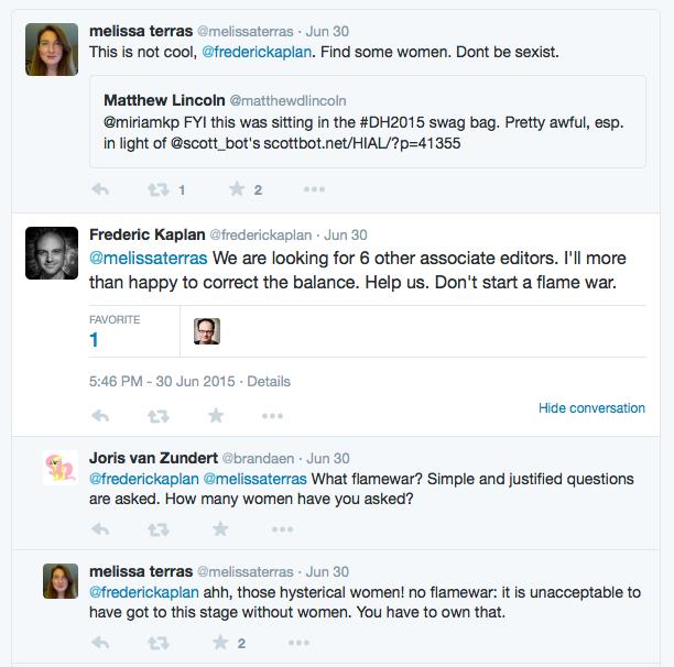Screenshot of tweets asking Frederic to readdress the gender balance