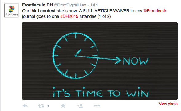 screenshot of tweet showing competition to win costs of publishing with frontiers in DH