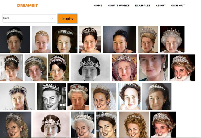 Pictures of a woman inserted into different tiara pictures